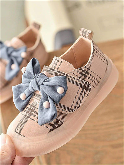 Girls Plaid Embellished Bow Tie Sneakers (3 Color Options) - Pink / 5.5 - Girls Sneakers