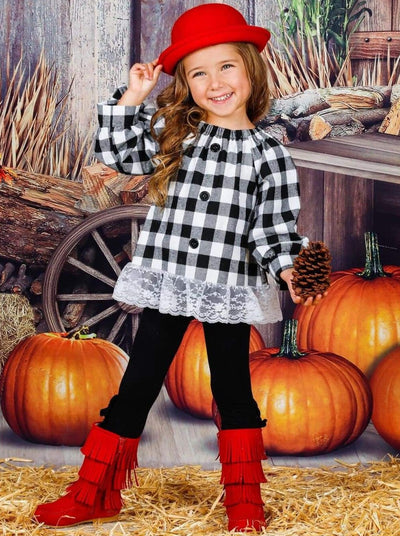 Girls Plaid Faux Buttoned Puff Sleeve Bow Tunic with Lace Hem & Ruffled Leggings Set - Girls Fall Casual Set