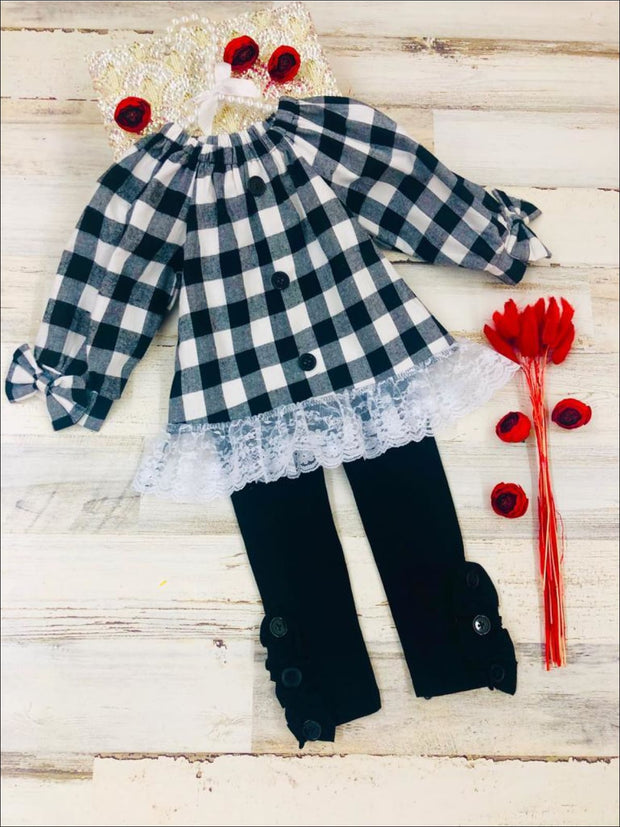 Girls Plaid Faux Buttoned Puff Sleeve Bow Tunic with Lace Hem & Ruffled Leggings Set - Black / 2T - Girls Fall Casual Set