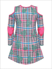 Girls Plaid Heart Print Hi-Lo Long Sleeve Cold Shoulder Tunic with Heart Elbow Patches - Girls Fall Top