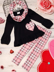 Girls Plaid Heart Ruffled Tunic Leggings and Scarf Set - Pink / 2T - Girls Fall Casual Set