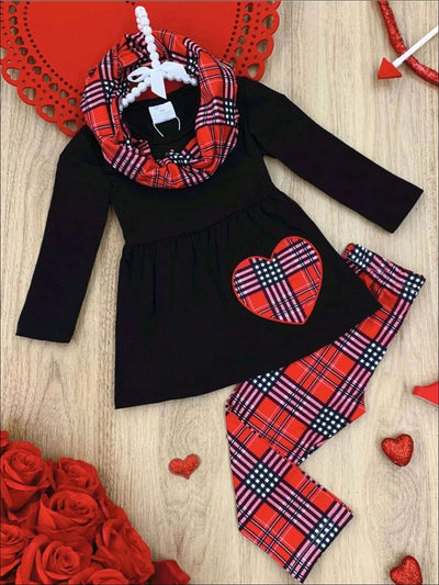 Girls Plaid Heart Tunic Leggings and Scarf Set - Red / 2T - Girls Fall Casual Set