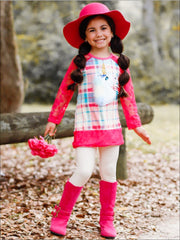 Girls Plaid Lace Trimmed Raglan Sleeve Tunic & Leggings Set - Girls Fall Casual Set