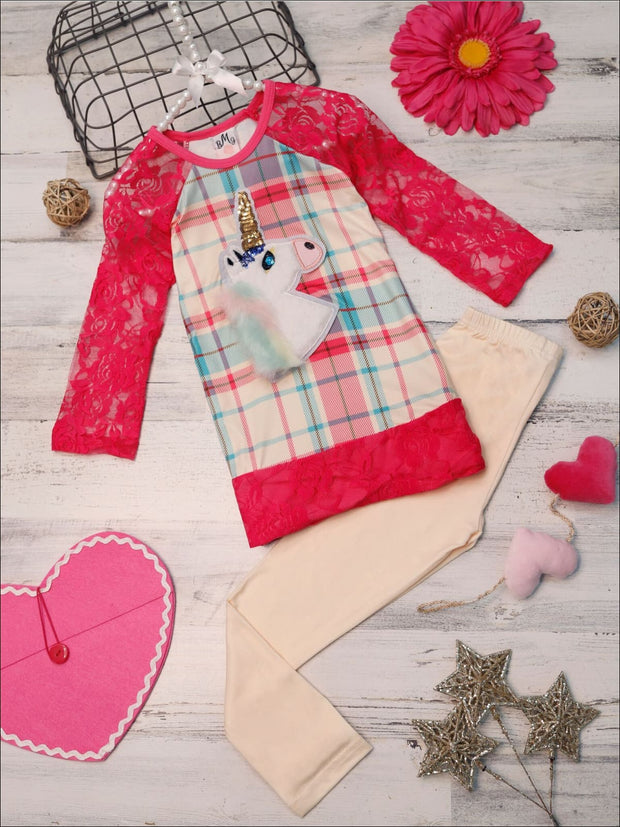 Girls Plaid Lace Trimmed Raglan Sleeve Tunic & Leggings Set - Pink / 2T/3T - Girls Fall Casual Set