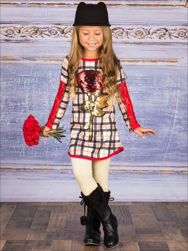 Girls Plaid Long Lace Patch Sleeve Tunic with Sequin Rose Applique & Matching Leggings Set - Girls Fall Casual Set