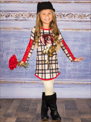 Girls Plaid Long Lace Patch Sleeve Tunic with Sequin Rose Applique & Matching Leggings Set - Beige / 2T/3T - Girls Fall Casual Set