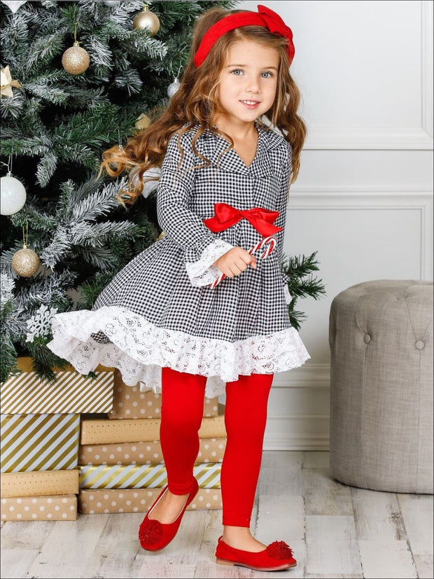 Girls Plaid Long Sleeve Hi-Lo Collared Lace Ruffle Blazer Tunic & Leggings Set - Girls Fall Dressy Set