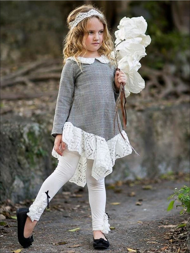 Girls Plaid Long Sleeve Lace School Peter Pan Collar & Ruffled Hem Tunic & Matching Bow Leggings Set - Girls Fall Dressy Set