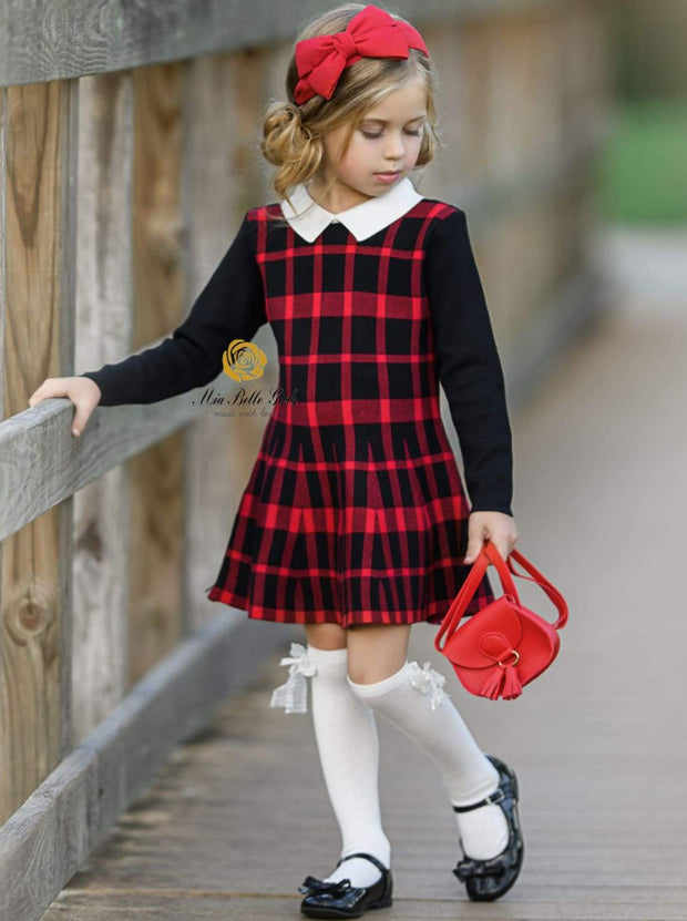 Girls Plaid Long Sleeve Sweater Dress ( 2 Color Options) - red / 3T - Girls Fall Dressy Dress