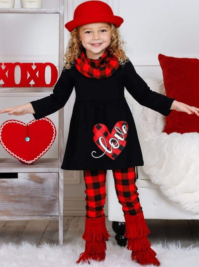 Girls Plaid Love Heart Tunic Leggings and Scarf Set - Girls Fall Casual Set