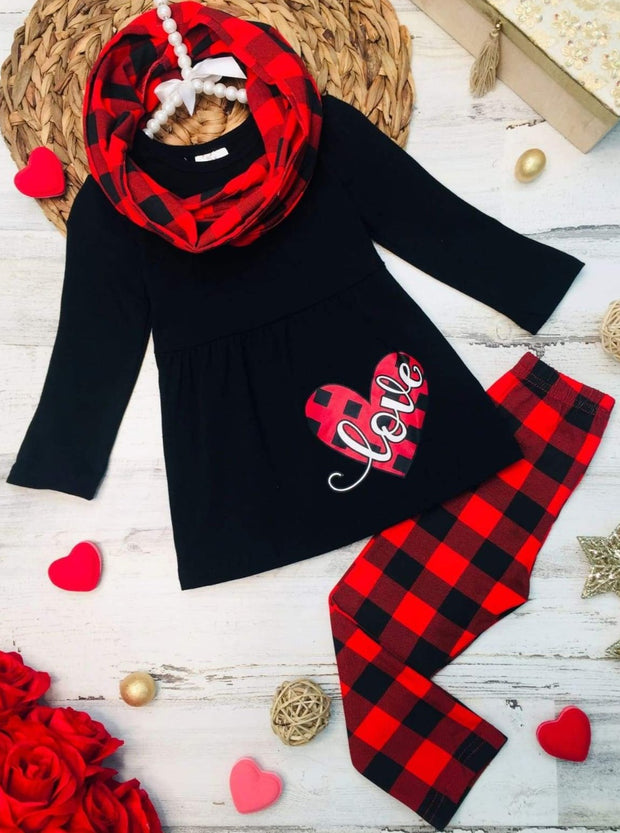 Girls Plaid Love Heart Tunic Leggings and Scarf Set - Red / 2T - Girls Fall Casual Set