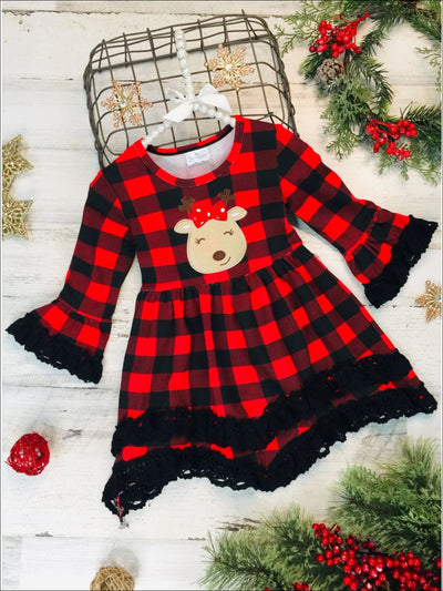 Girls Plaid Rudolph Lace Tiered Ruffled Dress - Red / 2T - Girls Christmas Dress
