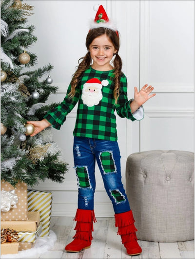 Girls Plaid Santa Ruffled Top & Ripped Jeans Set - Girls Christmas Set