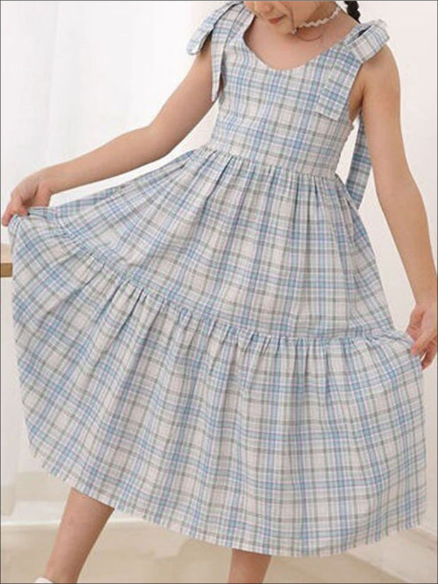 Girls Plaid Sleeveless Dress - Girls Spring Casual Dress