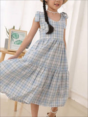 Girls Plaid Sleeveless Dress - Blue / 4T/5Y - Girls Spring Casual Dress
