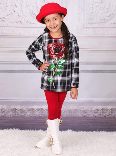 Girls Plaid Tunic with Sequin Applique Rose & Leggings Set - Girls Fall Casual Set