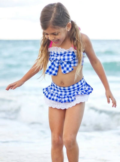 Girls Pleated Gingham Bandeau Halter with Matching Skirted Bottom Swimsuit - Girls Two Piece Swimsuit