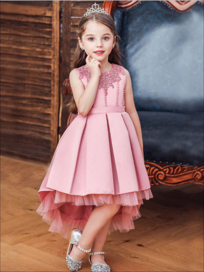 Girls Pleated Tulle Hi-Lo Special Occasion Dress - Girls Spring Dressy Dress