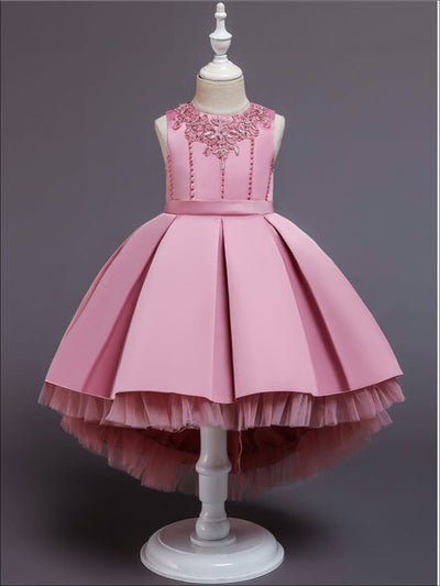 Girls Pleated Tulle Hi-Lo Special Occasion Dress - Pink / 3T - Girls Spring Dressy Dress
