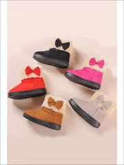 Girls Plush Bow Tie Winter Boots - Girls Boots