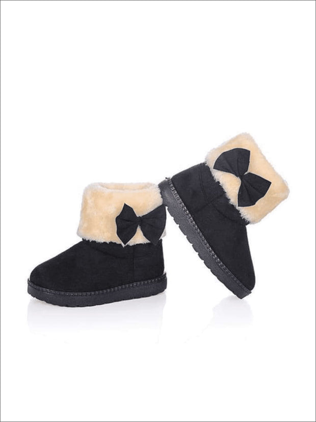 Girls Plush Bow Tie Winter Boots - Black / 1 - Girls Boots