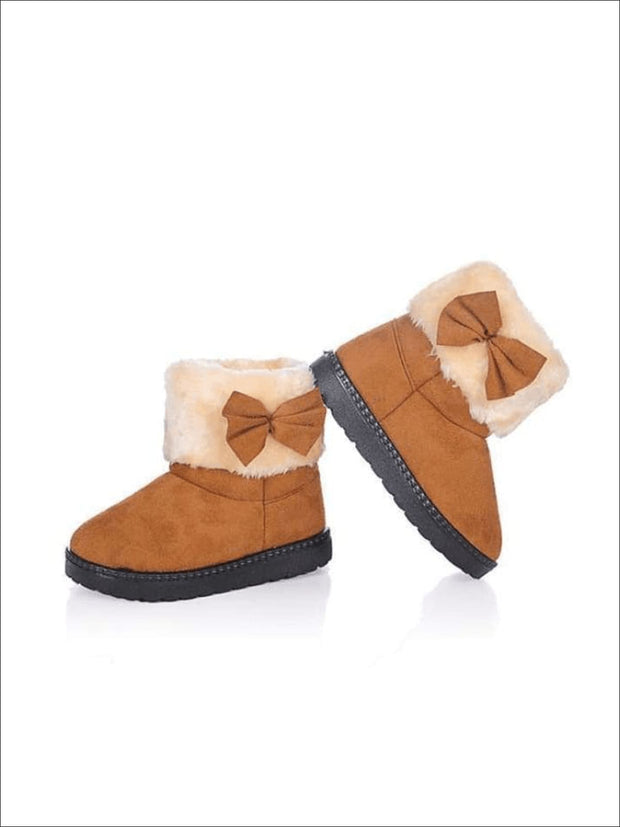 Girls Plush Bow Tie Winter Boots - Brown / 1 - Girls Boots