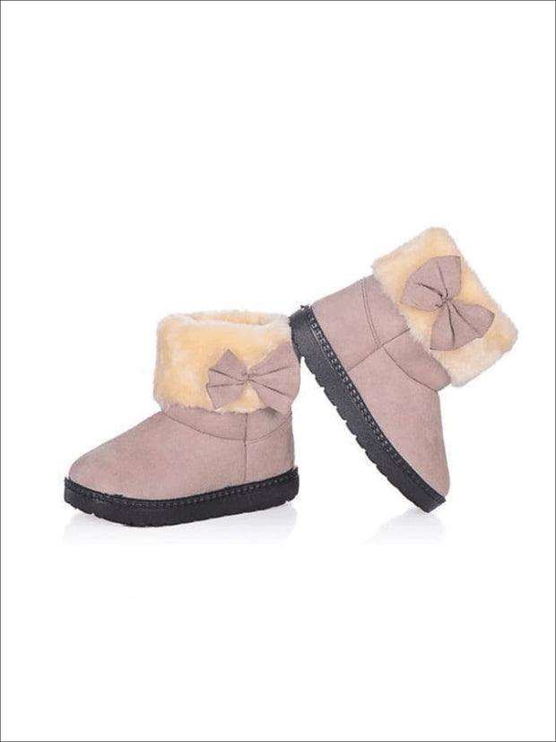 Girls Plush Bow Tie Winter Boots - Gray / 1 - Girls Boots