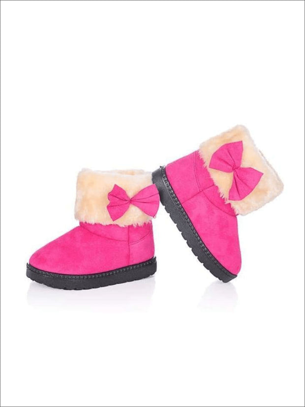 Girls Plush Bow Tie Winter Boots - Pink / 1 - Girls Boots
