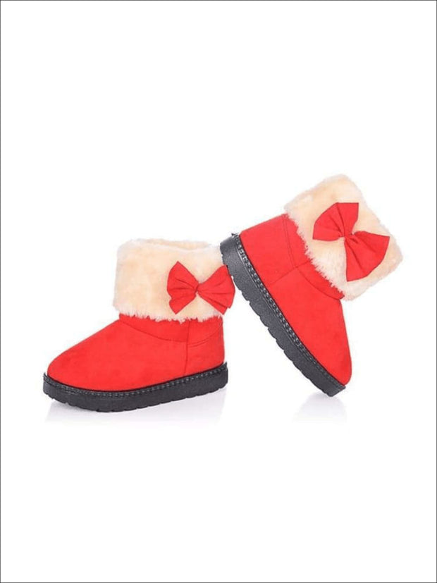 Girls Plush Bow Tie Winter Boots - Red / 1 - Girls Boots