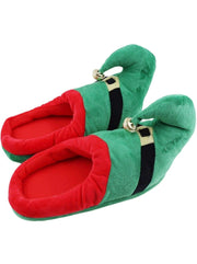 Girls Plush Elf Pajama Slippers with Bell - Green / Shoe Size 10-12 - Girls Christmas Shoes