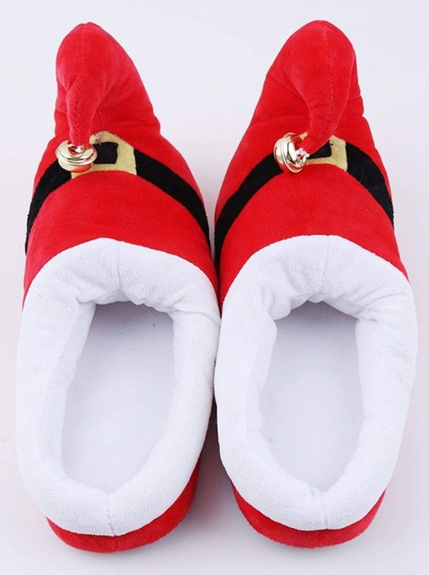 Girls Plush Elf Pajama Slippers with Bell - Red / Shoe Size 10-12 - Girls Christmas Shoes