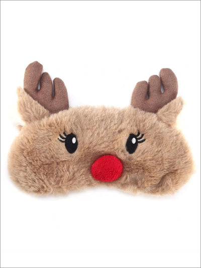 Girls Plush Holiday Animal Eye Mask - Brown - Girls Accessories