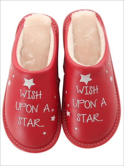 Girls Plush Leather Wish Upon A Star Slippers with Cotton Inlay - Red / Age 2T - Girls Christmas Shoes