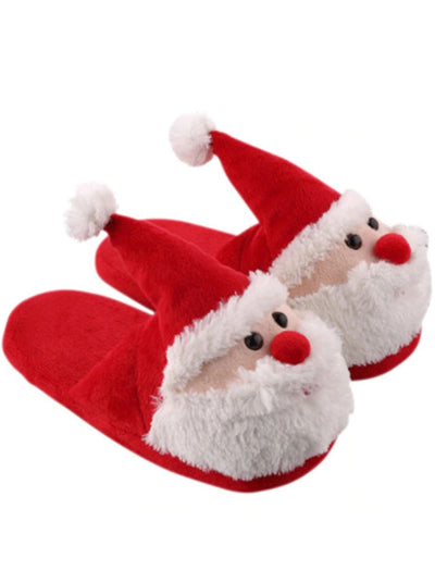 Girls Plush Santa PJ Slippers - Toddler 6.5-7 / Red & White - Girls Christmas Shoes
