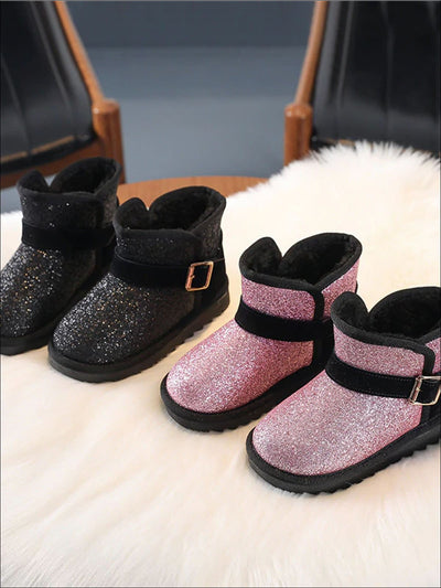 Girls Plush Sparkle Glitter Booties - Girls Boots