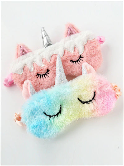 Girls Plush Unicorn Lash Eye Mask - Girls Accessories