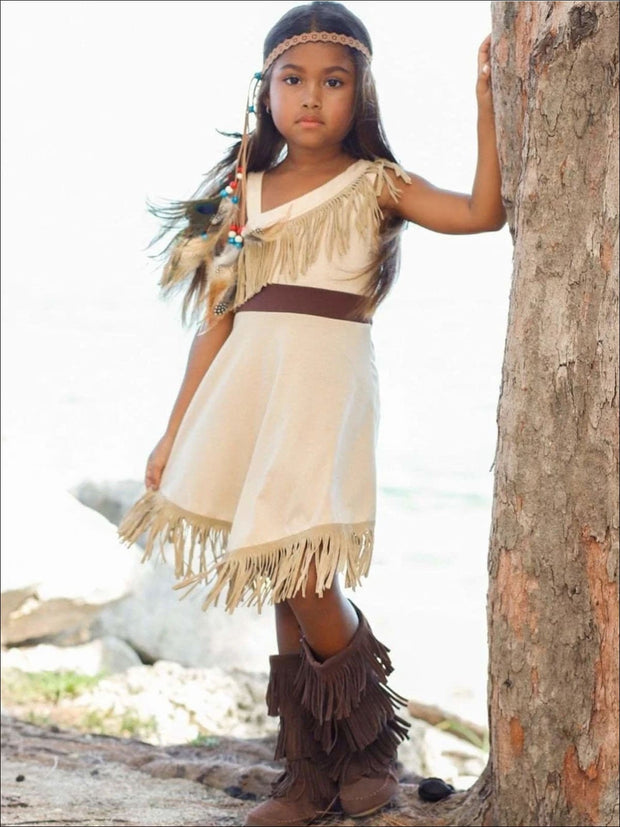 Girls Pocahontas Inspired Bohemian One Shoulder Fringe Halloween Costume - Girls Halloween Costume