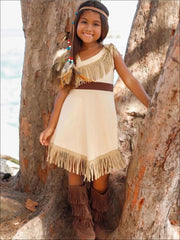 Girls Pocahontas Inspired Bohemian One Shoulder Fringe Halloween Costume - 3T - Girls Halloween Costume