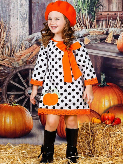 Girls Polka Dot 3/4 Sleeve Crochet Dress with Pumpkin Applique & Large Bow - Girls Fall Casual Dress
