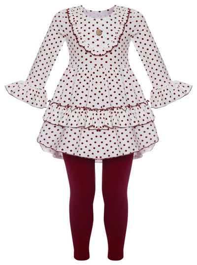 Girls Polka Dot A-Line Long Sleeve Ruffled Tunic & Matching Leggings Set - Burgundy / S-3T - Girls Fall Casual Set