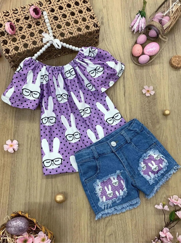 Girls Polka Dot Bunny Top and Patched Denim Shorts Set - Purple / 2T - Girls Spring Casual Set