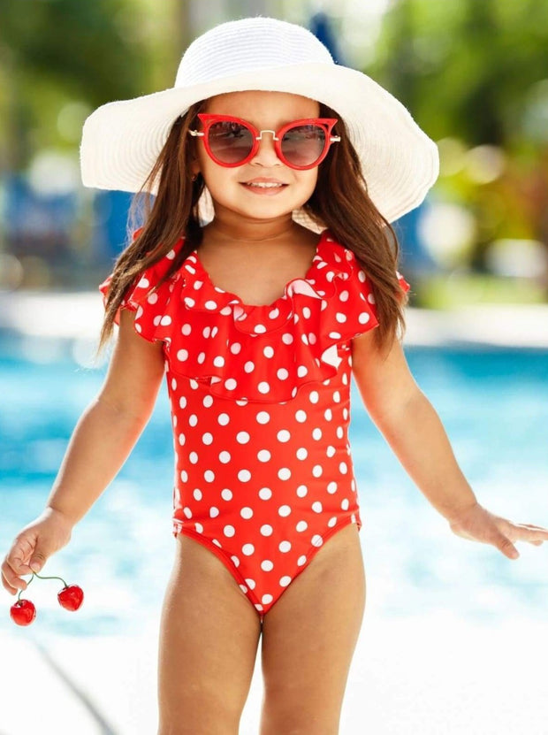 Girls Polka Dot Double Ruffle One Piece Swimsuit - Girls One Piece Swimsuit