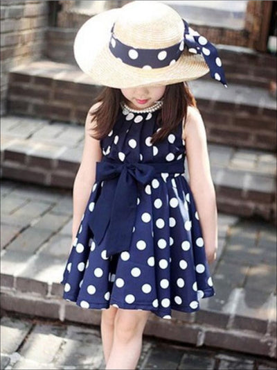 Girls Polka Dot Dress With Matching Belt - Blue / 2T - Girls Spring Casual Dress