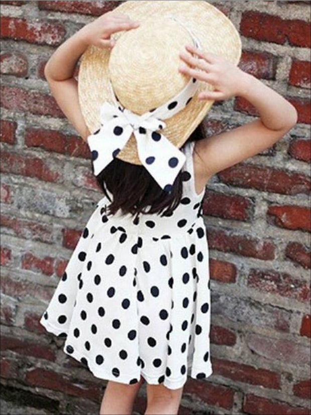 Girls Polka Dot Dress With Matching Belt - White / 2T - Girls Spring Casual Dress