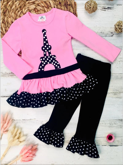 Girls Polka Dot Eiffel Tower Print Long Sleeve Peplum Bow Tunic & Ruffled Leggings Set - Pink / 2T - Girls Fall Casual Dress