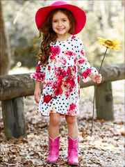 Girls Polka Dot Floral A-Line Long Flared Sleeve Dress - Girls Fall Casual Dress