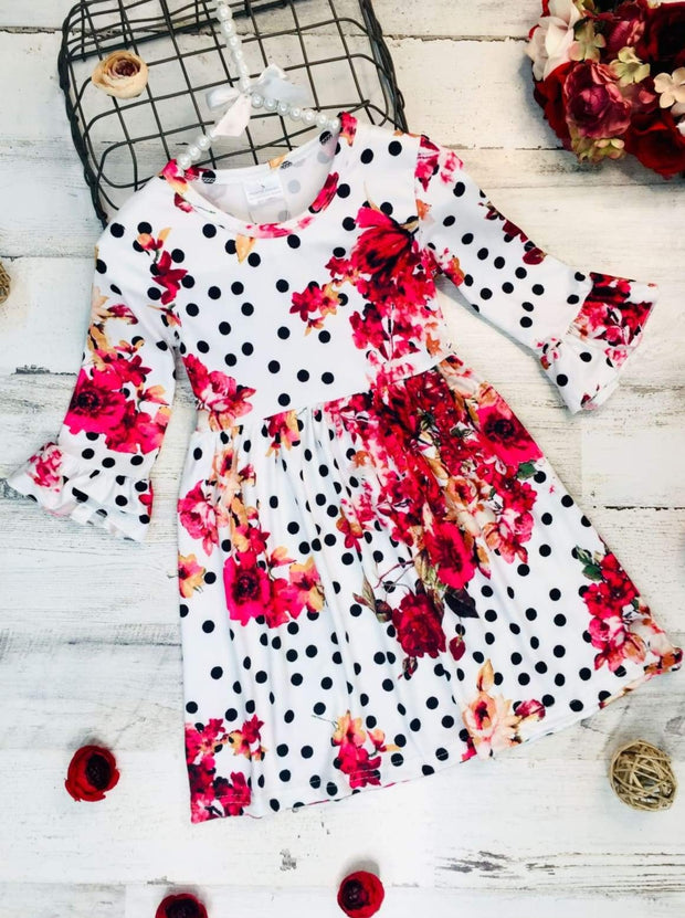 Girls Polka Dot Floral A-Line Long Flared Sleeve Dress - White / 2T-XS - Girls Fall Casual Dress