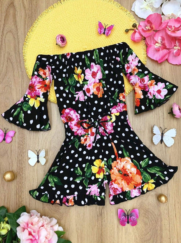 Girls Polka Dot Floral Ruffled Boho Drawstring Romper - Black / 2T/3T - Girls Jumpsuit