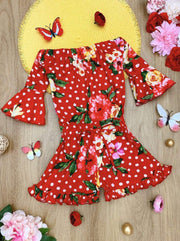 Girls Polka Dot Floral Ruffled Boho Drawstring Romper - Red / 2T/3T - Girls Jumpsuit