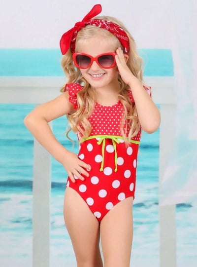 Girls Polka Dot Flutter Sleeve One Piece Swimsuit with Bow Detail - Girls One Piece Swimsuit